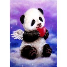 Картина для выкладывания круглыми камнями Панда с сердечком 24*34 см