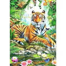 Картина для выкладывания камнями Тигр у водопада