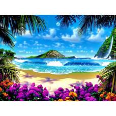 Картина для выкладывания квадратными камнями Море пальмы песок 30*40см