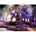 Картина для выкладывания камнями Дом с луной 40*30см