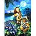 Картина для выкладывания квадратными камнями Девушка с тиграми 30*40см