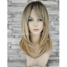 Парик блонд прямой 50см средней длины до плеч с затемненными корнями