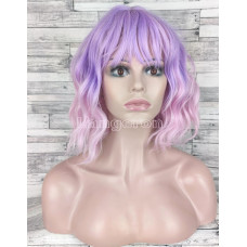 Парик каре фиолетовый с розовым омбре с челкой и пробором волнистый