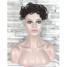 Накладка челка из натуральных волос темно-каштанового коричневого цвета волнистая постиж для редких волос