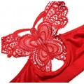Бюстгальтер 90С  красный  с бабочкой  без косточек с застежкой спереди