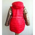 Пуховик для девочки с бронзовыми рукавами красный размер 122