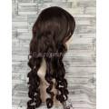 Парик коричневый волнистый 70см с локонами искусственные волосы длинный