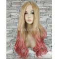 Парик с пробором волнистый блонд розовый омбре