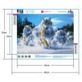 Картина круглыми камнями Волки в движении 24*34 частичн волки и снег