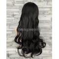 Парик черный волнистый 70см с косой челкой и пробором 124  искусственные волосы длинный