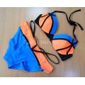 Купальник синий с оранжевым с черными полосками M
