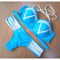 Купальник голубой с белыми полосками М