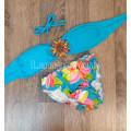 Купальник с брошкой голубой с цветами М