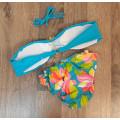 Купальник с брошкой голубой с цветами S