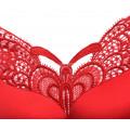 Бюстгальтер 110 D-E красный с бабочкой с застежкой спереди