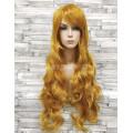 Парик желтый волнистый 80см с косой челкой золотой искусственный аниме косплей cosplay
