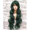 Парик зеленый волнистый 80 см с косой челкой искусственный аниме карнавальный косплей cosplay