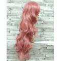 Парик розовый волнистый 80см аниме карнавальный косплей cosplay длинный