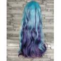 Парик волнистый двухцветный голубой с фиолетовым