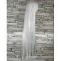 Парик белый прямой 100см с косой челкой косплей cosplay ровный искусственные волосы аниме карнавальный