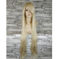 Парик блонд прямой 100см с косой челкой искусственные волосы аниме косплей cosplay ровный