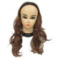 Волосы на заколках шиньон с обручем коричневые Накладка  полупарик  светло-коричневый волнистый трессы 4 клипсы