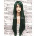 Парик  зеленый ровный 80 см с косой челкой искусственный аниме
