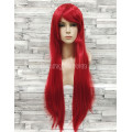 Парик красный ровный 80см с косой челкой искусственный длинный аниме карнавальный косплей cosplay прямой