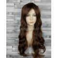Парик коричневый волнистый 70см с косой челкой искусственные волосы светло-коричневый
