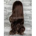 Парик коричневый волнистый 70см искусственные волосы с челкой
