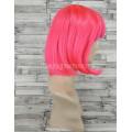 Парик малиновый прямой 30см каре ярко-розовый с прямой челкой