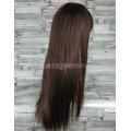 Парик коричневый ровный 70см с косой челкой темно-коричневый длинный