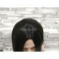 Парик серый прямой 70см серый с черным двухцветный с пробором