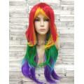 Парик разноцветный прямой 70см искусственный little pony карнавальный rainbow dash радуга дэш