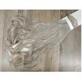 Волосы на заколках набор серые №4503 светлые волнистые трессы из 6 тресс 16 клипс