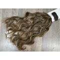 Волосы на заколках набор коричневые мелирование 8AH18 волнистые трессы из 6 тресс 16 клипс