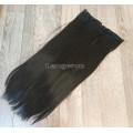 Волосы на заколках на одной ленте темно-коричневые №2 ровные трессы 5 клипс