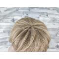 Парик из натуральных волос (70х30) светлый русый короткая стрижка