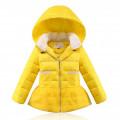Пуховик  теплый для девочки с юбочкой желтый 128, натуральный пух