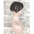 Накладка из натуральных волос черный с челкой имитация роста волос