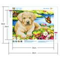Картина для выкладывания камнями Собака на поляне щенок 24*34см