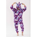 Пижама Единорог фиолетовый с белыми единорогами на молнии L на рост 165-175 кигуруми