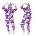 Пижама Единорог фиолетовый с белыми единорогами на молнии M на рост 155-163 кигуруми