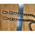 Цепочка-ручка для сумки  110 см 11мм цвет серебро   металл с карабинами вес 182гр.