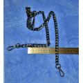 Цепочка-ручка для сумки  120 см 12мм цвет черный сплав  с карабинами вес 76 грамм
