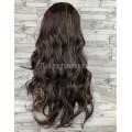 Парик коричневый волнистый мелирование с пробором и челкой 70см 027  искусственные волосы длинный