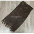 Волосы на заколках на одной ленте коричневые №2/33 темно-коричневые с красным оттенком ровные трессы 5 клипс