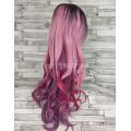 Парик с пробором розовый с фиолетовым с темными корнями волнистый 80см 1641R