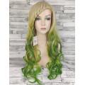 Парик блонд с салатовым волнистый 70см 1766R