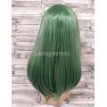 Парик зеленый ровный  50см с косой челкой искусственный аниме